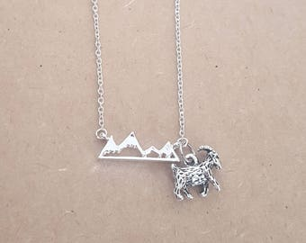 Rocky Mountain Goat Necklace, Mountain Goat Necklace, Goat Lover Gift, Silver Rocky Mountain Goat Pendant Necklace