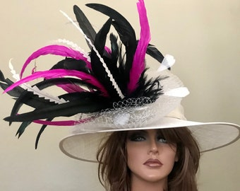 Black Cream Pink Medium Brim Hat Kentucky Derby -Wedding- Races Custom