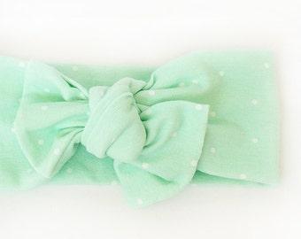 Baby Knot Headband, Knotted Headband / Mint Snow