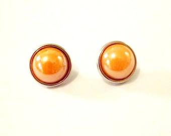 x 2 mini Orange mother of Pearl 12 mm snaps