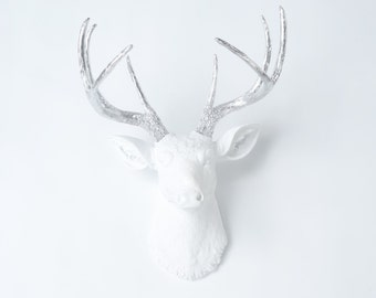 Deer Head Wall Mount - White Deer with Silver Antlers - Faux Taxidermy Deer Head Wall Mount - Bedroom Decor D0110