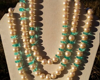 Vintage Monet Large Faux Pearl 11mm and Aqua Colored Translucent Lucite Beads 62 Inch Long Necklace, Signed, Made on 1980s