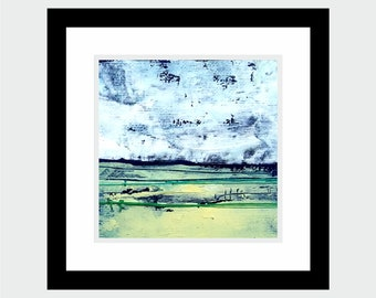 small oil painting abstract landscape + artistic textile! 10x10 cm series 2017 on canvas in frame / obraz olejny pejzaż abstrakcyjny w ramie
