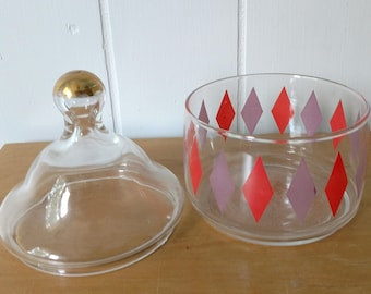 vintage mid century harlequin diamond pattern glass candy dish