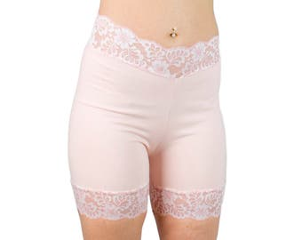 Cotton Bloomers Lace Biker Shorts Salmon Pink Shorties Opaque Underwear Modesty Tap Pants Women's Boxer Briefs