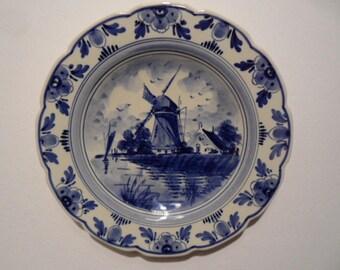Delft blue wall plate,dutch porcelain wall plate,classical windmill pattern,handpainted wall plate,Delft Netherlands