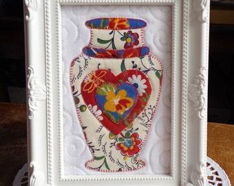 Framed Mini Quilt, Vase