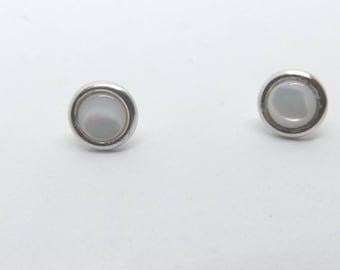 6 mm Mother of Pearl Stud Earrings