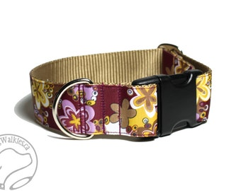 """Vintage Blossoms Dog Collar // 1.5"""" (38mm) Wide // Martingale or Quick Release // Choice of style and size // Mauve // Caramel // Maroon"""
