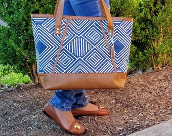 Canvas Tote Bag, Work Bag, Everyday Tote, Diaper Bag, Travel Bag, Waterproof, Navy, Brown Faux Leather, Handbags, Personalized Tote