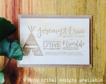 Wood wedding invitation - Timber wedding invitation - Boho Tribal Design - Pack of 10