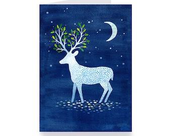 White deer greeting card night star