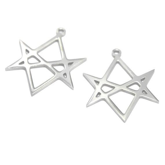 5pcslot unicursal hexagram symbol pendant stainless steel emblem 5pcslot unicursal hexagram symbol pendant stainless steel emblem amulet talisman charm aleister crowley charm pendant 21x27mm asd2981 mozeypictures Images