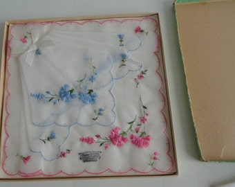 50s Boxed Nylon Handkerchieves Embroidered Made in Switzerland