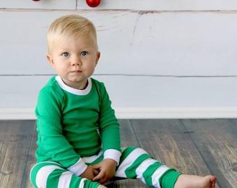 Green and White Striped Pajamas Christmas Pjs, Christmas Pajamas, Christmas PJs, Family PJs