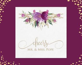 100+ Purple Amethyst Plum Floral Wedding Napkins Luncheon Napkins Beverage Napkins Custom Personalized Napkins Floral Wedding Napkins