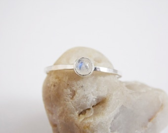 Rainbow Moonstone Ring Sterling Silver Stacking Ring