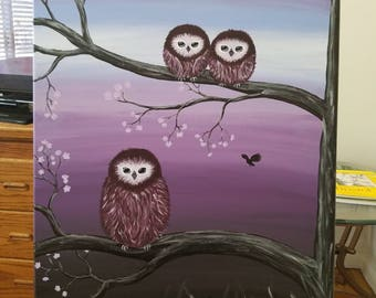 Little owl family acrylic original painting
