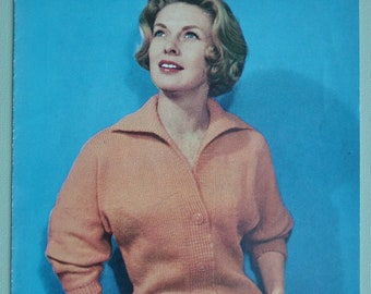 Vintage 1950s Knitting Pattern Women's Cardigan with collar 50s original pattern Bestway No. 3435 UK