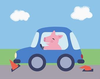 Transportation Kids Bedroom Artwork - Pig in Car Children's Art