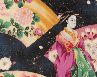 Japanese Kimono Fabric with Gold Metalic Outlining, Geisha in the Night with a Paper Fan - Fat Quarter Fabric Cotton Print