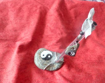 Pen holder Yin Yang black glass and silver metal and painted River stone beads