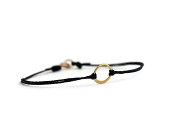 Tiny Circle Bracelet / Gold Circle Bracelet / Karma Bracelet