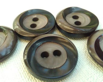 Set of 5 round vintage buttons. Two-tone buttons: black and Brown.  B54