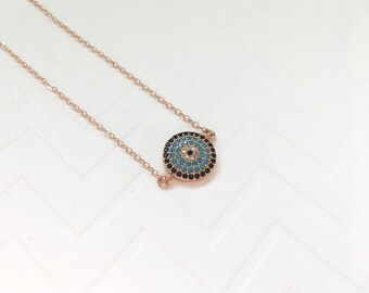 Evil Eye Coin Necklace, Rose Gold Evil Eye Choker, Bohemian Choker, Boho Style Jewelry, Wedding Jewelry, Rose Gold Evil Eye Disc Necklace