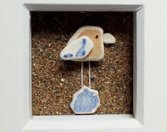 Scottish Sea Pottery Bird Picture - Beach Decor - Bird Lovers Gifts - Handmade in Scotland - Birdwatcher - Twitcher Gift - Coastal Interiors
