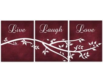 Live Laugh Love CANVAS, Burgundy Wall Art, Red Home Decor, Bathroom Wall Decor, Bedroom Wall Art, Nursery Wall Art, Wall Hangings - HOME357