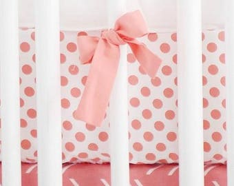 Wanderlust in Coral White and Coral Crib Baby Bedding | Crib Sheet