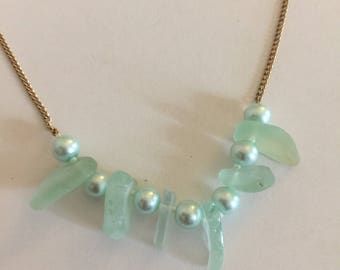 Sea glass necklace, beaded sea glass necklace