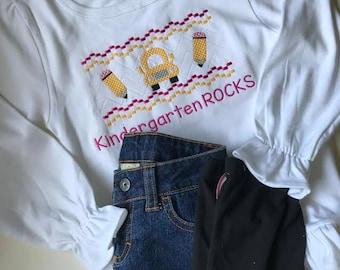 SAMPLE Sale.....Custom Rae Danae Designs KINDERGARTEN Rocks Embroidered Smocked 3 Piece Set...Size 5/6...Back To School...Jeans and Pants