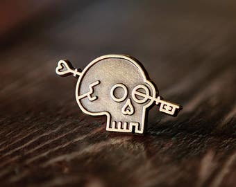 Lost Lust Supply Skull Key Logo Enamel Lapel Pin Badge // Skeleton Key Emblem Keyhole