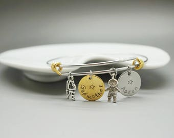 godmother bangle godmother bracelet godmother kid name - personalized gift - aunt auntie nanny grandma mother family gift - gold silver