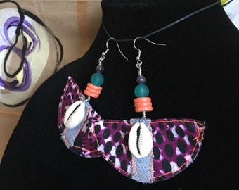 Purple Neon Wax Print Cowrie Earrings