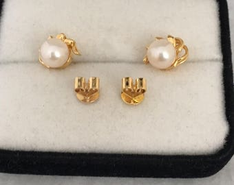 18K Solid Fine Gold Akoya Solitaire Luster Pearl Earrings Ribbon Drapes Each Beautiful Luster 750 Yellow Gold Post Backings