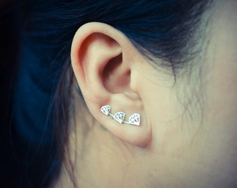 Diamond Outline Sterling Silver Ear Climbers