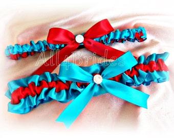 Red and turquoise wedding leg garters, satin garters, bridal keepsake and toss garter belt set