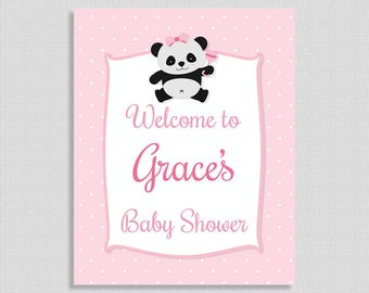 Pink Panda Baby Shower Welcome Sign, Personalized Baby Shower Welcome Sign, Baby Girl, PRINTABLE