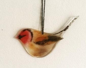 Fused Glass Bird Goldfinch