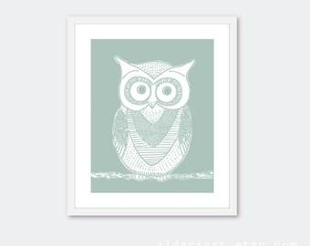 Owl Art Print - Owl Wall Art - Owl Decor - Nursery Owl Print - Seafoam Sage Green - Woodland Bird