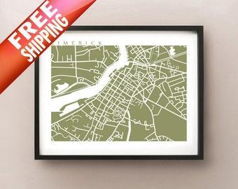 Limerick Map - Ireland poster