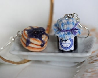 Breakfast Earrings - Blueberry Jam Earrings - Pancake earrings - Miniature Food Earrings - Miniature Food jewelry