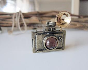 Antique Brass 3D Paparazzi Camera Necklace