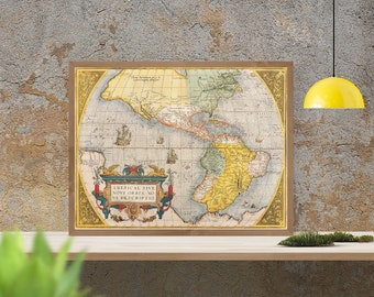 Ancient Map of North and South America, 1579, large antique map, fine reproduction, antique decor, fine art print