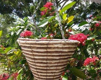 Conical lined hanging baskets