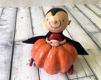 Dracula Pumpkin Car Figurine - OOAK