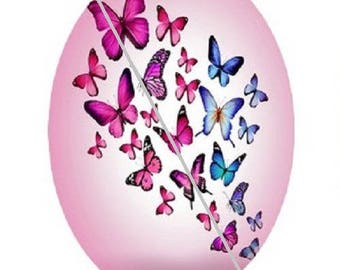 18x25mm, pink and blue butterflies flying